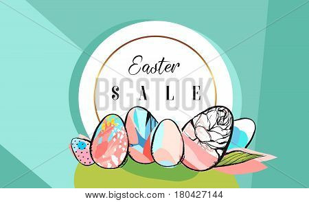 Hand drawn vector abstract creative Easter Sale greeting borders design template with drawing Easter eggs with golden frame on tiffany blue color backgrounds.Spring unusual trendy Easter cards designs