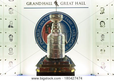 TORONTO, CANADA - circa february 2017: Hockey Hall of Fame, Stanley Cup in Great Hall