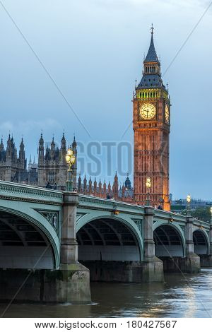 LONDON, ENGLAND - JUNE 16 2016: Houses of Parliament with Big Ben and Westminster bridge, London, England, Great Britain