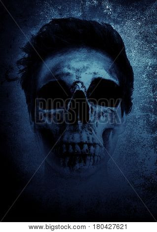 Ghost with scary face,Horror background for book cover