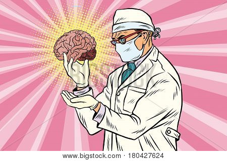 Surgeon doctor and the human brain. Pop art retro vector illustration. Medicine and psychological health