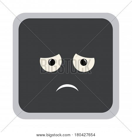 square colorful shape emoticon dissapointed expression vector illustration
