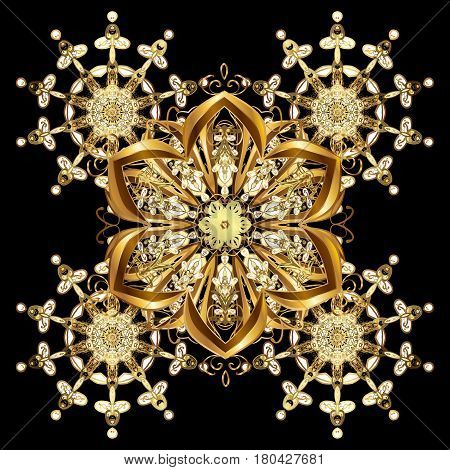 Flat design with abstract snowflakes isolated on black background. Golden snowflake. Vector snowflakes background. Snowflakes pattern.