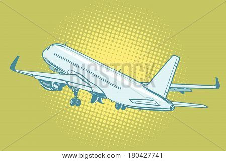 The takeoff of a passenger plane. Pop art retro vector illustration
