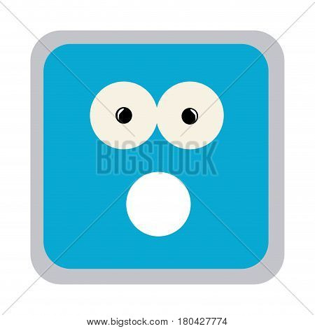 square colorful shape emoticon puzzled expression vector illustration