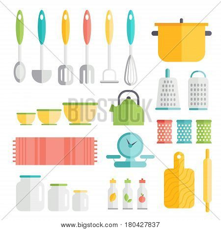 Kitchen utensils in flat style design. Cooking kitchenware icons. Interior and food preparation tools and instruments.