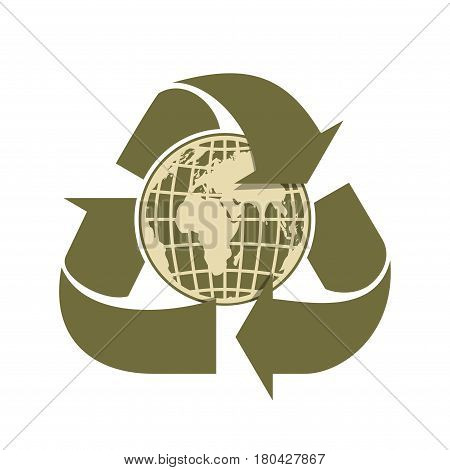 Recycling arrows and Earth. Sign of recycling. Vector illustration isolated on white background