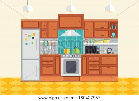 Kitchen interior vector illustration. Flat design furniture and kitchen cupboards with utensils, fridge and stove. Cartoon room for cooking and food preparation.
