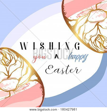 Hand drawn vector abstract creative Happy Easter greetings card design template with painted golden Easter eggs on white background.Spring unusual trendy Easter card design.Wishing you a happy Easter.