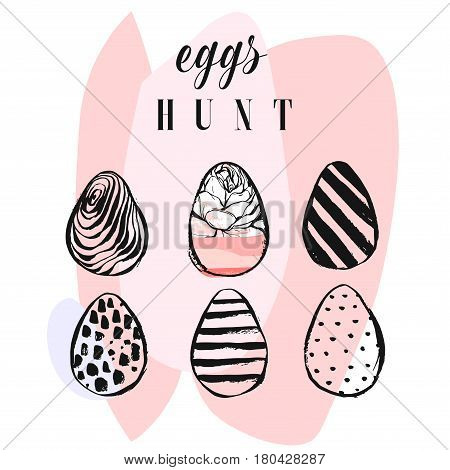 Hand drawn vector abstract collage funny poster with realistic Easter eggs and Eggs hunt quote in pastel colors isolated on white.Easter bunny background.Cute trendy Easter eggs illustration.