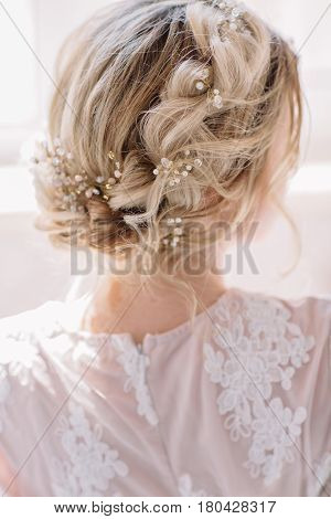 Bride's Morning. Fine Art Wedding. Portrait Of A Young Bride In White Lace Boudoir With Wavy Blonde