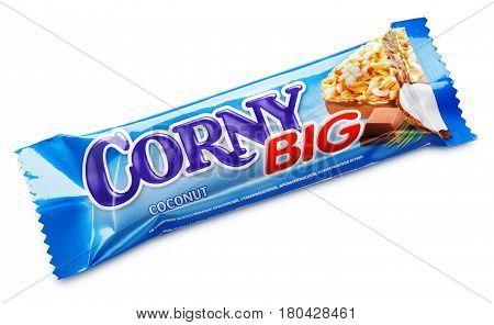 Corny Big (coconut Flavor) Muesli Bar Isolated On White Background
