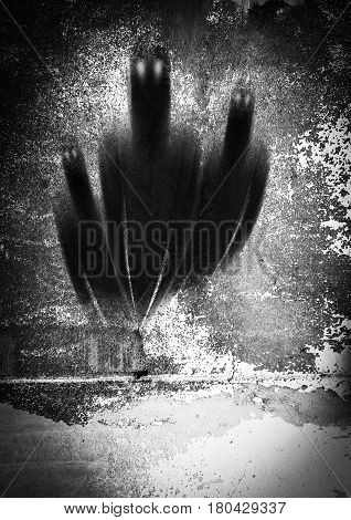 Shadow of spirits in grunge background,Horror background for book cover
