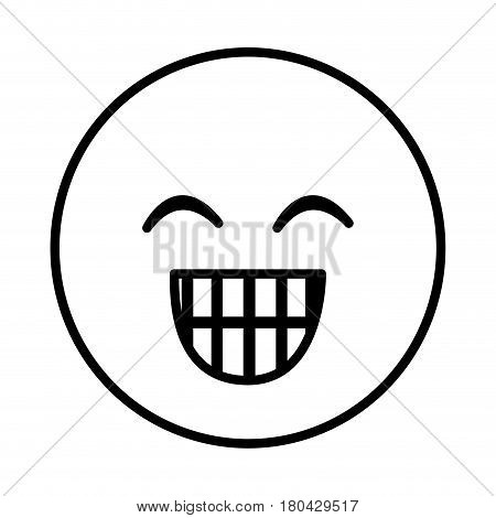 silhouette emoticon face happines expression vector illustration