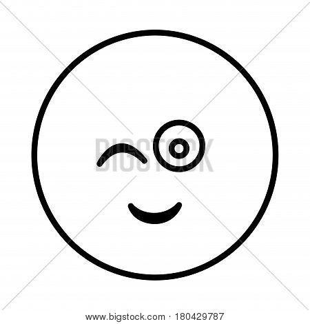silhouette emoticon face winking expression vector illustration