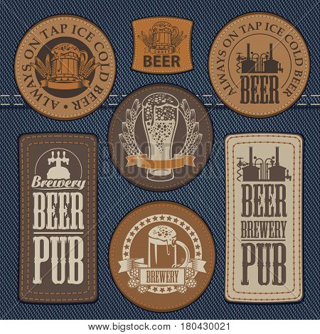 vector set of labels for jeans with pictures on the topic of beer pub on a background of denim