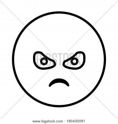 silhouette emoticon face furious expression vector illustration