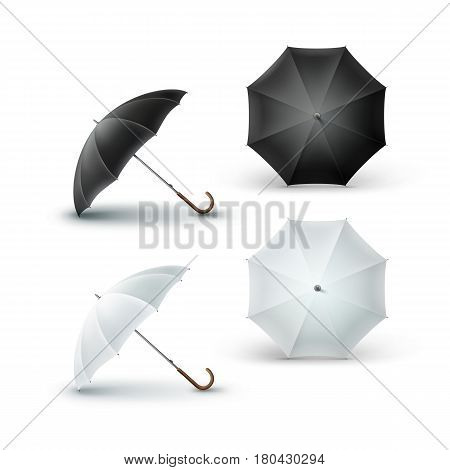 Vector Set of White Black Blank Classic Opened Round Rain Umbrella Parasol Sunshade Top Front Side View Mock up Close up Isolated on White Background