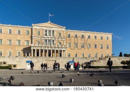 ATHENS, GREECE - JANUARY 19 2017: The Greek parliament in Athens, Attica, Greece