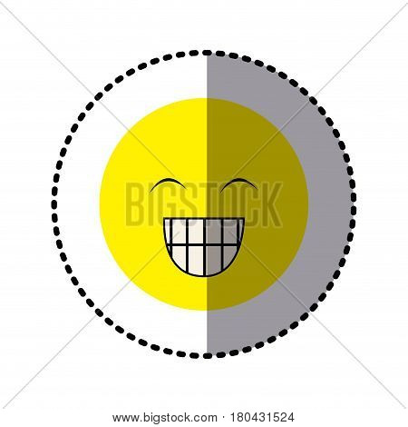 sticker colorful emoticon face happines expression vector illustration