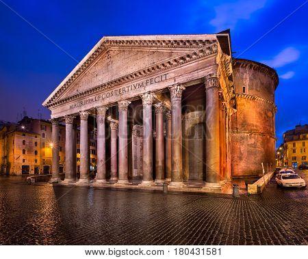 Piazza della Rotonda and Pantheon in the Morning Rome Italy