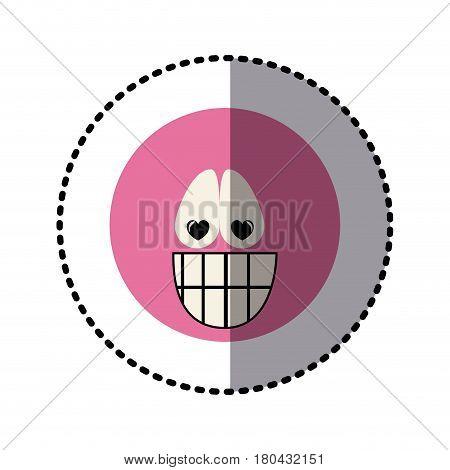 sticker colorful emoticon crazy in love face expression vector illustration