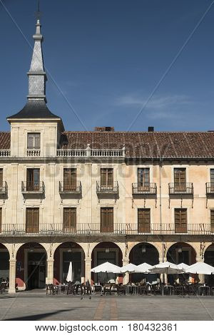 LEON, SPAIN - JULY 26, 2016: Leon (Castilla y Leon Spain): historic buildings in Plaza Mayor the main square of the city