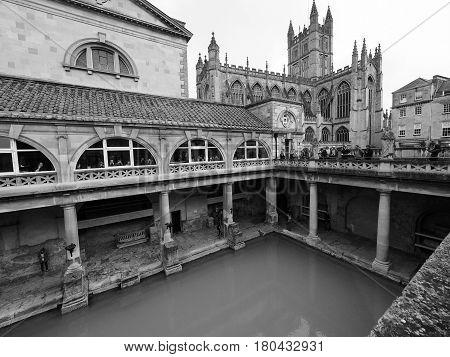 Roman Baths In Bath In Black And White