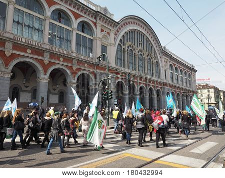 Industrial Action At Porta Nuova Station In Turin