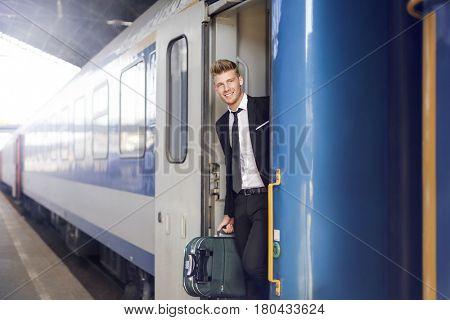Businessman leaving on a train