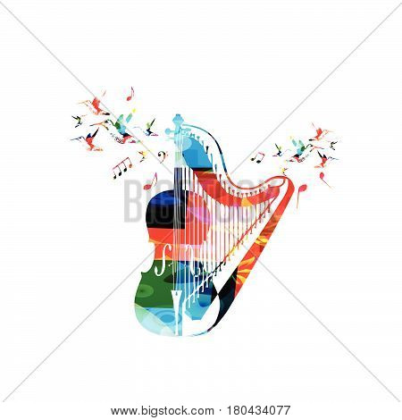Colorful violoncello with harp and hummingbirds isolated vector illustration. Music instrument background for poster, brochure, banner, flyer, concert, music festival