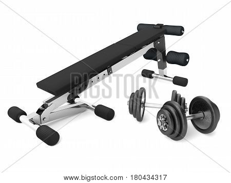 3d rendering of a multifunctional bench for abdominal and lifting with barbell weights and supports
