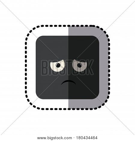 sticker square colorful shape emoticon dissapointed expression vector illustration
