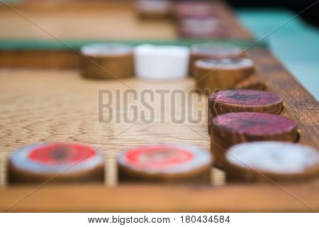 The game of backgammon close shot close-up one of backgammon