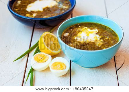 Green borsch with beef in deep plates. Sour oxalic soup with spinach and egg in two deep blue dishes on a white background. Soup from sorrel and spinach with beef and lemon and sour cream