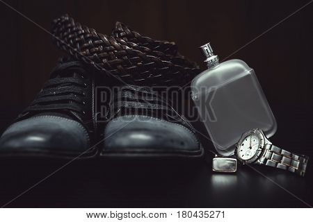 men's accessories. Shoes with perfume and watch