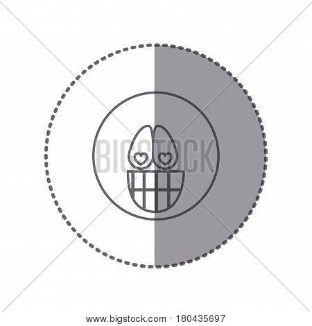 sticker silhouette emoticon face crazy in love expression vector illustration