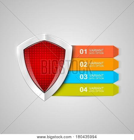 Infographics shield. Protection concept. Data protection vector illustration
