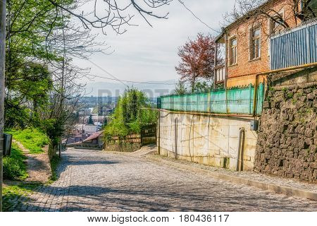 Georgia, Kutaisi - April 01, 2017: Streets and buildings of Kutaisi, Georgia. Kutaisi is the legislative capital of Georgia, and its 3rd most populous city. Situated 221 kilometers west of Tbilisi.
