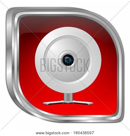 red Button with Webcam - 3D illustration