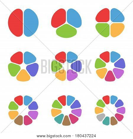 Colorful Circle segments set. Set of pie charts