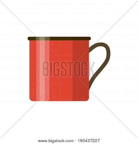 Camping red enamel mug isolated on white background. One enameled metal cup. Vector cartoon illustration eps10