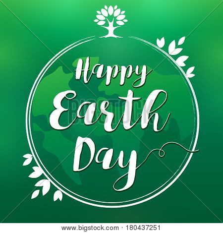 Happy Earth Day lettering globe and leaf banner. Happy Earth Day lettering globe and leaf banner. Vector illustration with the planets, leaves and words Happy Earth Day card background. Save the earth and Green day concept