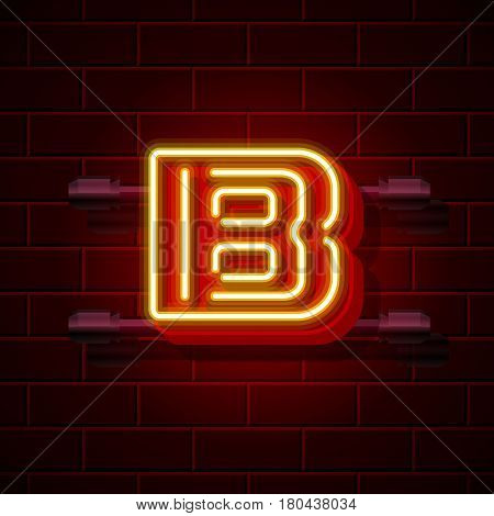 Neon city font letter B signboard. Vector illustration collection