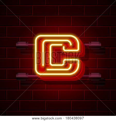 Neon city font letter C signboard. Vector illustration collection