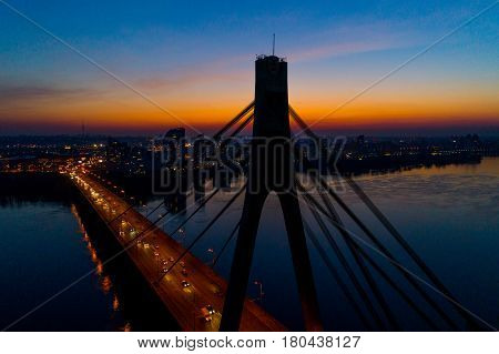 Bridge in Kiev at night from a height