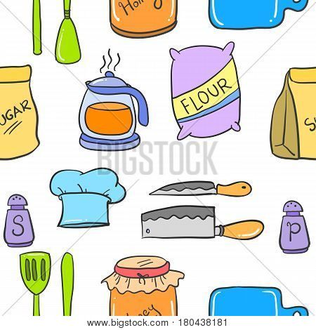 Collection stock kitchen set colorful style vector art