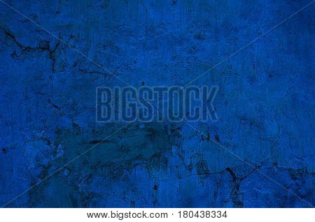 Background Of A Deep Blue Stucco Coated And Painted Exterior, Rough Cast Of Cement And Concrete Wall