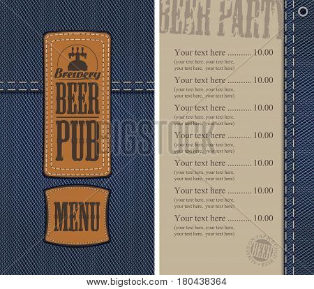 vector menu for beer pub on denim background with price list and two sewed leather labels