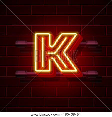 Neon city font letter K signboard. Vector illustration collection